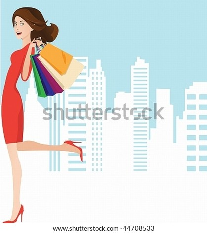 Vector image of a beautiful girl in a red dress with a successful shopping.May well arrange your text - stock vector