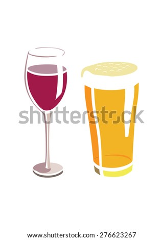 Vector image of a beer and wine glass - stock vector