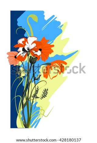 Vector image of a bouquet of blooming poppies - stock vector