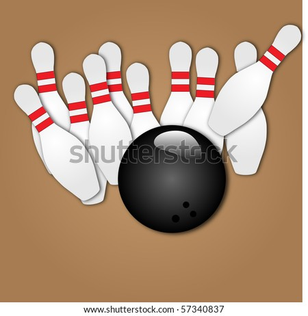 Vector image of a bowling ball striking pins - stock vector