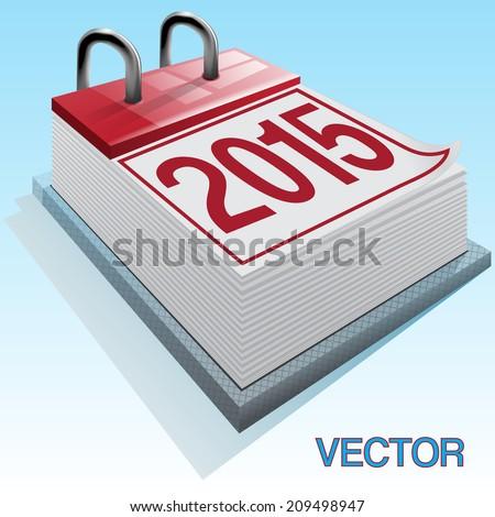 Vector image of a calendar card 2015 against the blue sky - stock vector