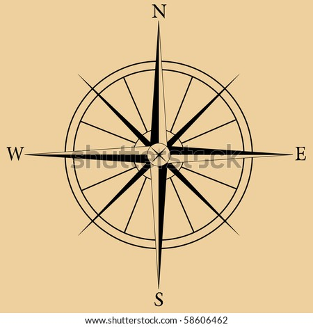Vector image of a compass Rose - stock vector