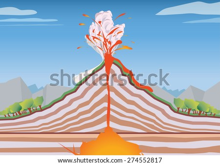Vector image of a cross section volcano - stock vector