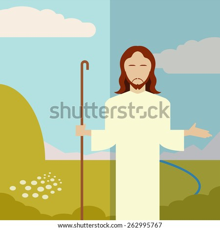 Vector image of a Flat icon Jesus - stock vector