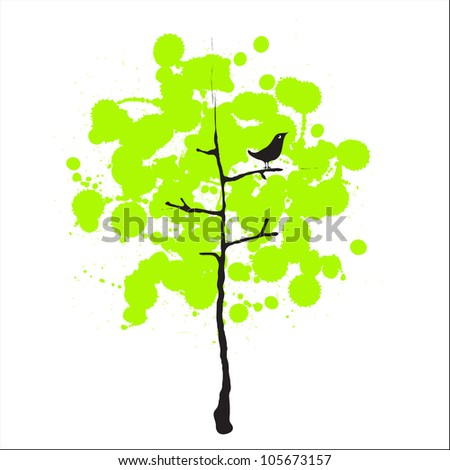 Vector image of a green tree with a bird / Bird and trees - stock vector