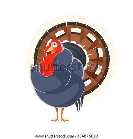 Vector image of a happy cartoon turkey - stock vector