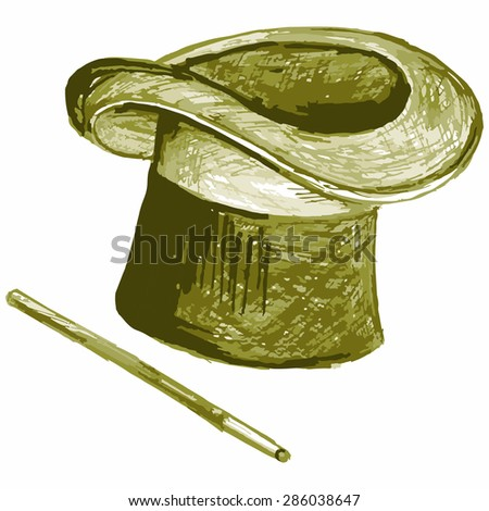 Vector image of a hat and wand wizard - stock vector