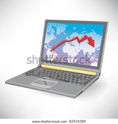 vector image of a laptop with a red arrow collapse - stock vector