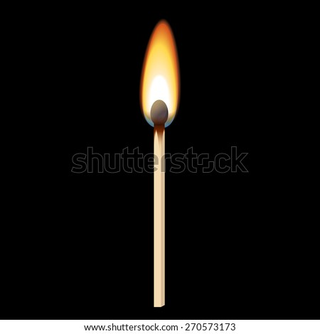 Vector image of a Match in the dark - stock vector