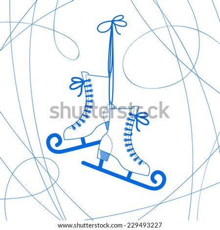 Vector image of a pair of skates curly - stock vector
