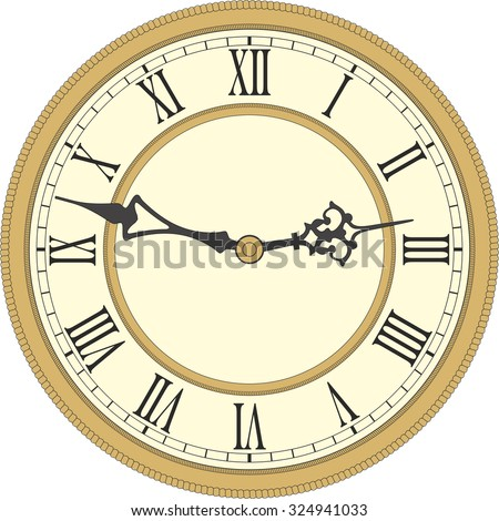 Vector image of a round, old clock with Roman numerals. - stock vector