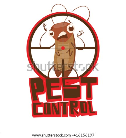"""Vector image of a round red-black frame like under the gun with cartoon image of a funny brown cockroach standing terrified in the center on white background. Inscription """"Pest control"""". Vector image. - stock vector"""