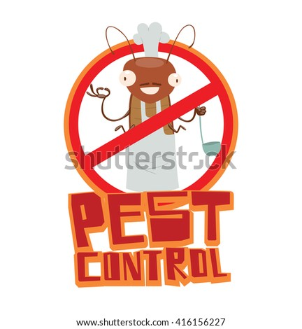 """Vector image of a round red crossed-out sign with cartoon image of a funny brown cockroach in a white chef's hat in the center on a white background. Inscription """"Pest control"""". Vector illustration. - stock vector"""