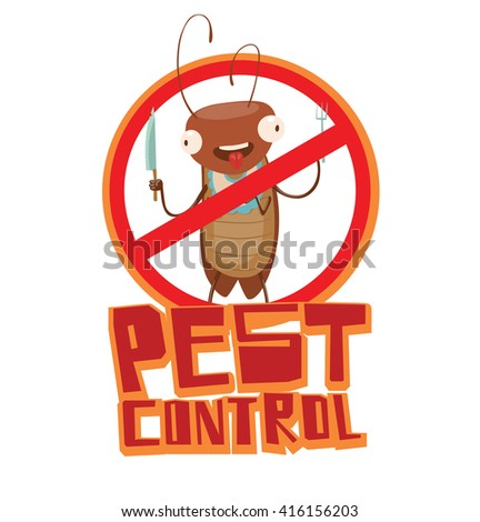 """Vector image of a round red crossed-out sign with cartoon image of a funny brown cockroach with a knife and fork in the center on a white background. Inscription """"Pest control"""". Vector illustration. - stock vector"""