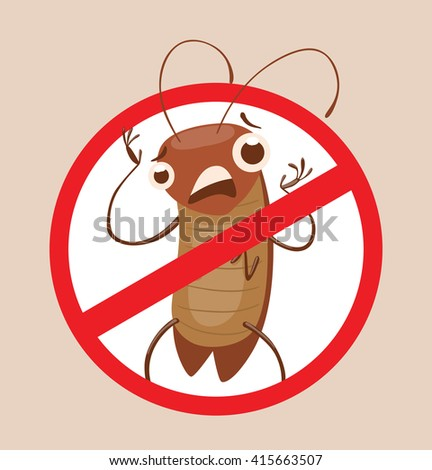 Vector image of a round red crossed-out sign with cartoon image of funny brown cockroach standing terrified in the center on a gray background. Anthropomorphic cartoon cockroach. Pest control.  - stock vector