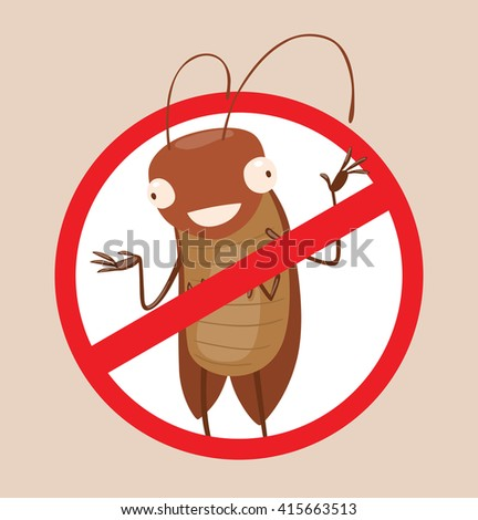 Vector image of a round red crossed-out sign with cartoon image of funny brown cockroach standing and smiling in the center on a gray background. Anthropomorphic cartoon cockroach. Pest control.  - stock vector