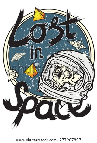 Vector image of a sad dead astronaut in space - stock vector