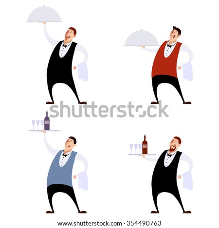 Vector image of a Set of waiters - stock vector