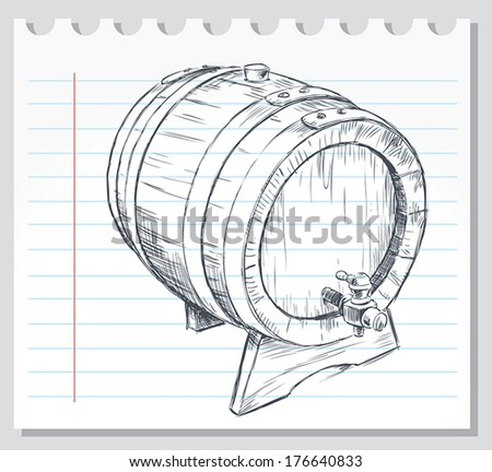 Vector image of a sketch of an old wine cask. - stock vector