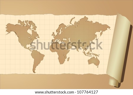 Vector image of a vintage world map. - stock vector