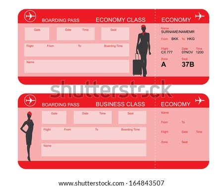 Vector image of airline boarding pass tickets - stock vector