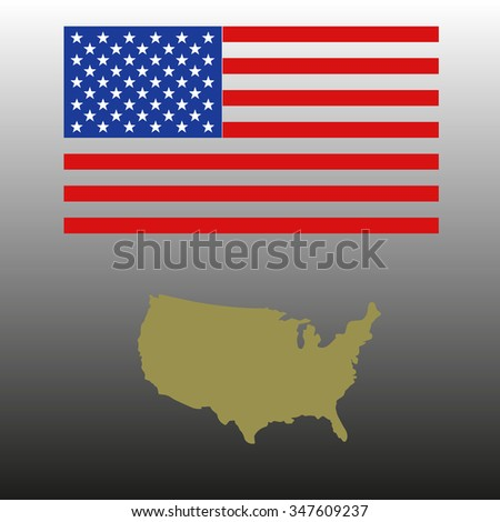 vector image of American flag and map - stock vector
