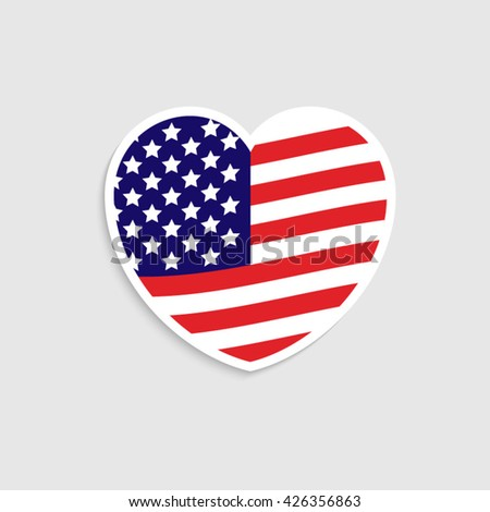 Vector image of American flag in heart, Flag Heart icon vector, american flag Heart icon, flag Heart icon path, memorial day icon, Independence Day icon, american flag Heart background. - stock vector