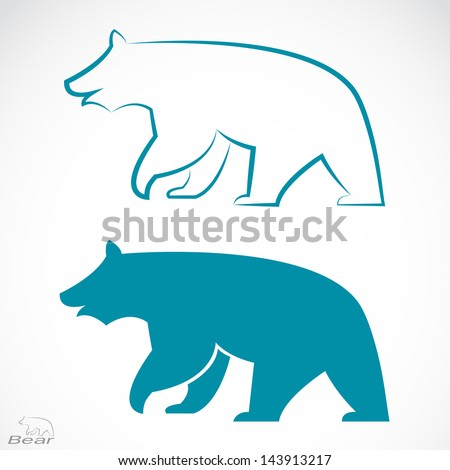 Vector image of an bear on white background - stock vector