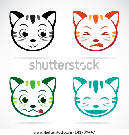 Vector image of an cat face - stock vector