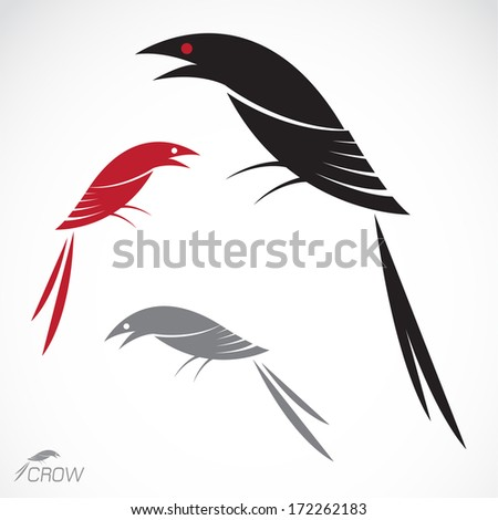 Vector image of an crow on white background - stock vector