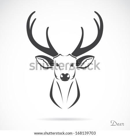 Vector image of an deer head on a white background - stock vector