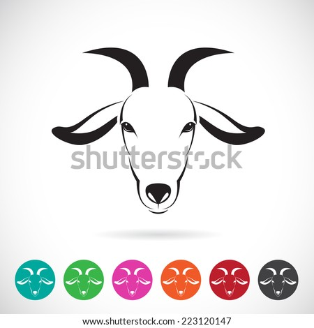 Vector image of an goat head on white background - stock vector