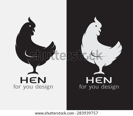 Vector image of an hen on white background and black background - stock vector
