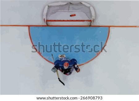 vector image of an hockey goalie view from above - stock vector