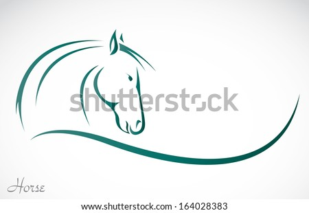 Vector image of an horse on white background - stock vector