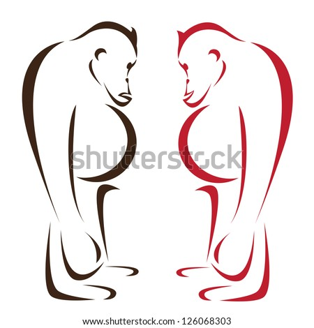 Vector image of an orangutan on a white background - stock vector