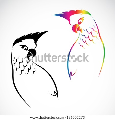 Vector image of an parrot on white background  - stock vector