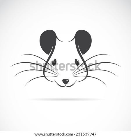 Vector image of an rat head on white background - stock vector