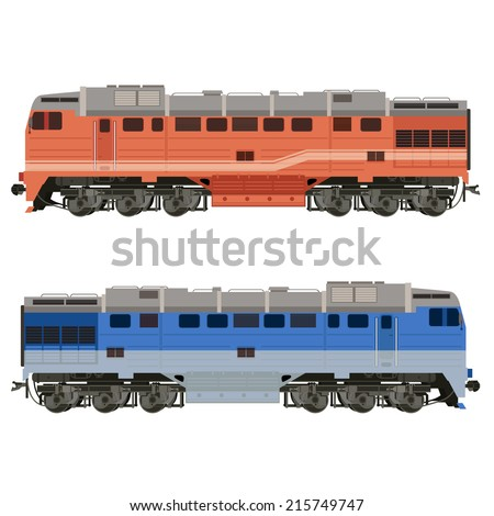 Vector image of an real-looking shiny Locomotive - stock vector