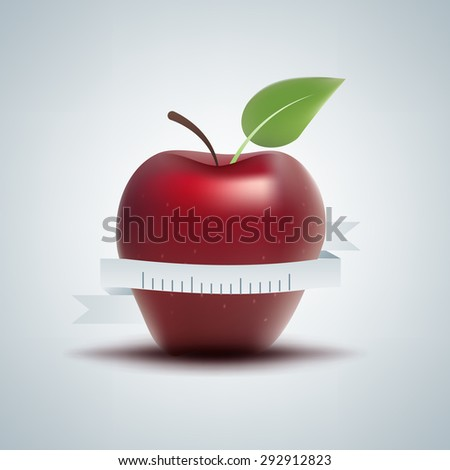 Vector image of apple with ruler. Proper nutrition concept - stock vector