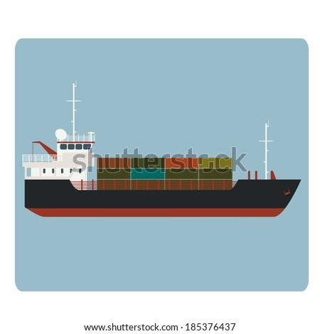 Vector image of big dry cargo ship - stock vector
