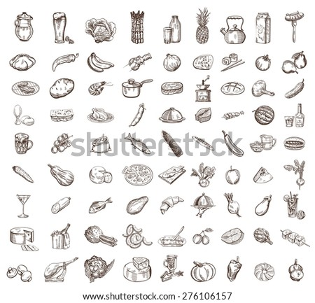 vector image of black food big set - stock vector