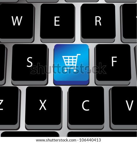 Vector image of black keyboard with a dedicated shopping cart key for online shopping.Shopping cart key color modifiable. Simple gradients. - stock vector