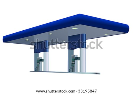 Vector image of blue gas station - stock vector