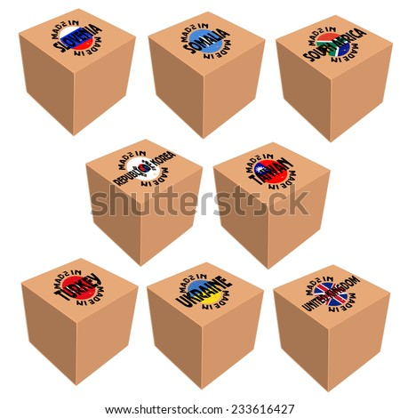 Vector image of box with national attributes  - stock vector
