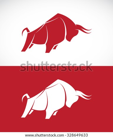 Vector image of bull design on white background and red background, Logo, Symbol, Animals - stock vector