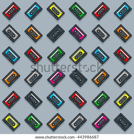 Vector image of cassette collection over gray background - stock vector