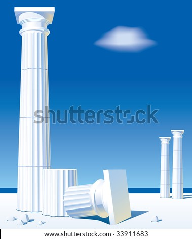 Vector image of classical antic columns on the shore - stock vector