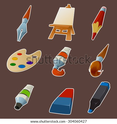 Vector image of collection of draw icons - stock vector