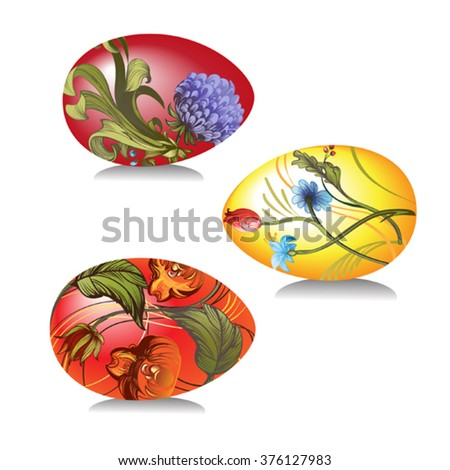 Vector image of Easter eggs decorated 